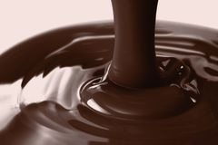 Pouring liquid hot chocolate closeup. Cooking dessert. Pouring liquid hot chocolate from above closeup. Cooking dessert Royalty Free Stock Photos