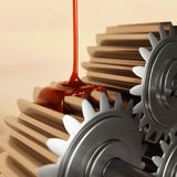 Pouring Lubricant on Gears 3d Illustration. Pouring Lubricant on Gears Closeup 3d Illustration Stock Image