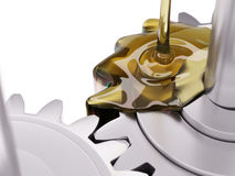 Pouring Lubricant on Gearwheel Closeup 3d Illustration. On White Background Royalty Free Stock Image