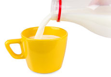 Pouring milk from bottle into cup Royalty Free Stock Photos