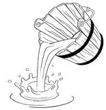 Pouring milk from bucket. A illustration of pouring milk from bucket Royalty Free Stock Photos