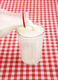 Pouring milk on checked tablecloth Royalty Free Stock Photos