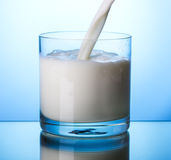 Pouring milk into glass Stock Photography