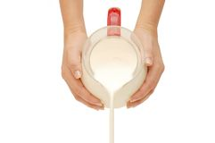 Pouring of milk from a jug Royalty Free Stock Images