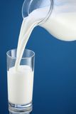 Pouring of milk from jug into a glass. Royalty Free Stock Images