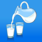 Pouring milk from a jug into glasses. Vector Stock Photo