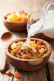 Pouring milk over healthy granola with dry fruits for breakfast Royalty Free Stock Images