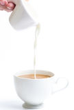 Pouring milk in to coffee cup Royalty Free Stock Photos