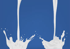Pouring milk. Two white flow and splash. Colorful realistic vector illustration on blue background. Stock Image