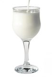 Pouring milk in a wine glass Stock Photography