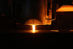 Pouring of molten iron in foundry Royalty Free Stock Photography