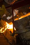 Pouring Molten Metal Royalty Free Stock Photos