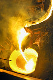 Pouring molten steel. Inside of steel plant Royalty Free Stock Image