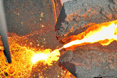Pouring molten steel Stock Image