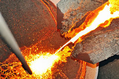 Pouring molten steel royalty free stock photography