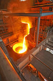 Pouring molten steel Stock Photo