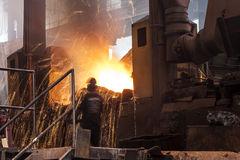 Pouring of Molten Steel. (Cast Iron royalty free stock photo