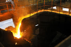 Pouring molten steel in transportation device Stock Image
