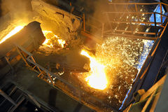 Pouring molten steel in transportation device Royalty Free Stock Photography