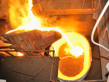 Pouring molten steel in transportation device Stock Photo