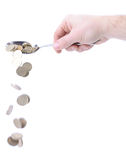 Pouring money Stock Images