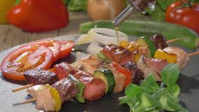 Pouring olive oil over grilled meat skewers stock video