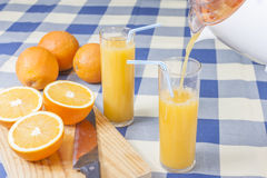 Pouring orange juice Stock Images