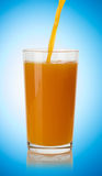 Pouring orange juice  into glass Royalty Free Stock Image
