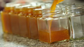 Pouring orange marmalade in jars stock video footage