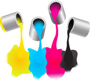 Pouring paints of CMYK colors from its buckets Royalty Free Stock Photos