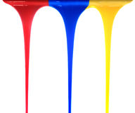 Pouring primary colors Royalty Free Stock Photos