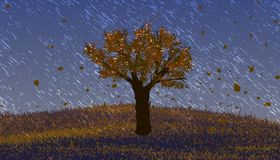 Pouring rain. Deciduous tree with orange leaves on the hill. Stock Image