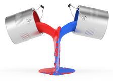 Pouring red and blue paint. On white. 3d rendered image Stock Photos