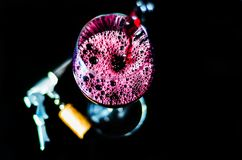 Pouring red wine in a glass, celebration of a moment with a glas. S of wine, exquisite liquor for gourmets, winery Royalty Free Stock Photography