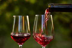 Pouring red wine into glasses stock photography
