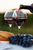 Pouring red wine into glasses Royalty Free Stock Photo