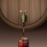Pouring red wine. Vector illustration of concept pouring red wine out wooden barrel in glassful, isolated on brown background Royalty Free Stock Images