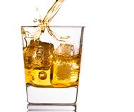 Pouring scotch whiskey in glass with ice cubes on white. Pouring scotch whiskey in glass with ice cubes isolated on white background Royalty Free Stock Photos