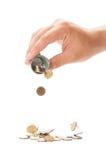 Pouring a small bucket of romanian  coins Stock Photos
