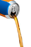 Pouring soft drink. Pouring orange soft drink out of can stock photos
