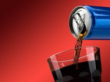 Pouring a soft drink in a glass Royalty Free Stock Image