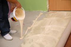 Pouring special glue stock image