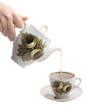 Pouring tea. In the cup Royalty Free Stock Images