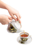 Pouring tea. In the cup Stock Image
