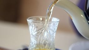Pouring traditional Turkish Tea stock video footage