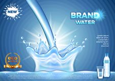 Pouring water ads. Realistic vector background Stock Photos