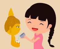 Pouring water on buddha statue. Eps10 Illustration stock illustration