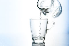 Pouring water in glass Royalty Free Stock Image