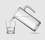 Pouring Water In Glass On Transparent Background Stock Photography