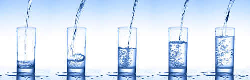 Pouring water into glasses. Set of pouring water into glasses Stock Photos